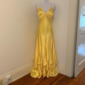 Zumzum niki Livas yellow satin rhinestone gown 12